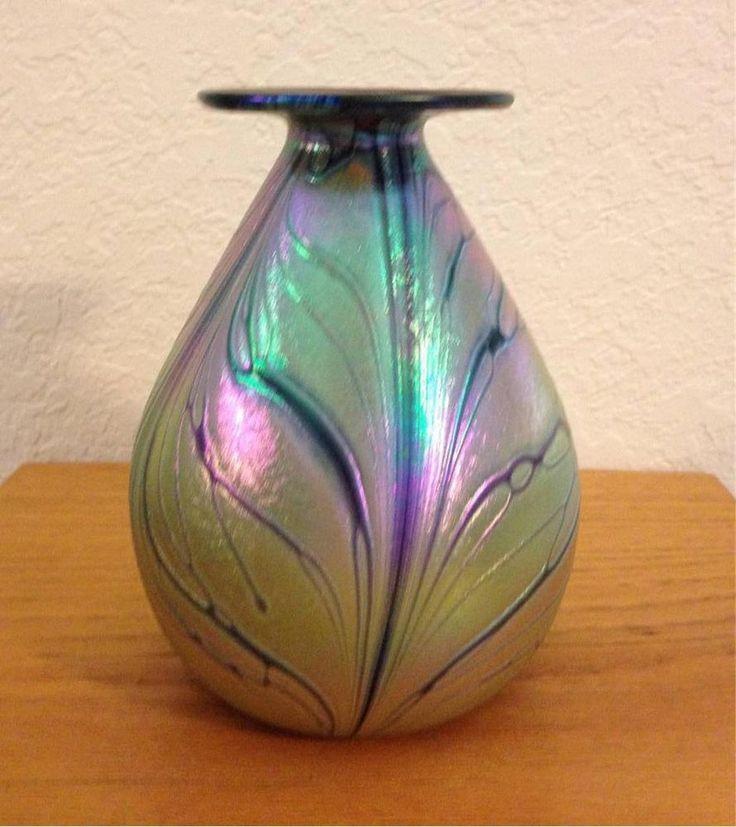 Rick Hunter Hand Blown Art Glass Iridescent Butterfly Mini Vase Signed 5.75 inch