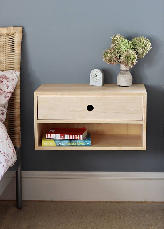 Floating Nightstand with Drawer in Solid Maple, Scandinavian Modern Bedside Table