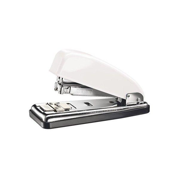 Grapadora PETRUS 226 metálica de diseño retro en un elegante color blanco, muy robusta y efectiva para uso intensivo en la oficina, capaz de grapar hasta 30 hojas