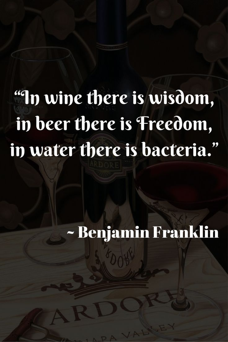 In Wine There Is Wisdom In Beer There Is Freedom In Water There Is Bacteria Benjamin Franklin Wine Drinking Quotes Alcohol Quotes Funny Drinking Quotes