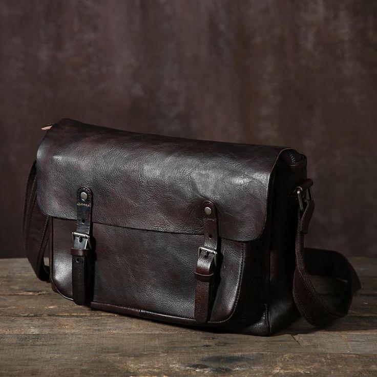 Crossbody Leather Messenger Bag, Mens Leather Messenger Bag GLT044
