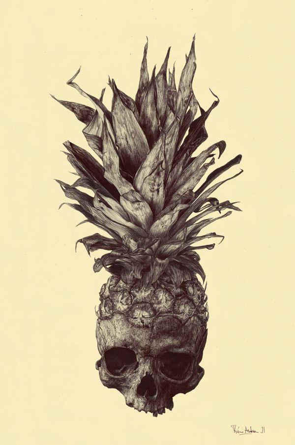 Rémi Andron    #anatomy #skull #pineapple