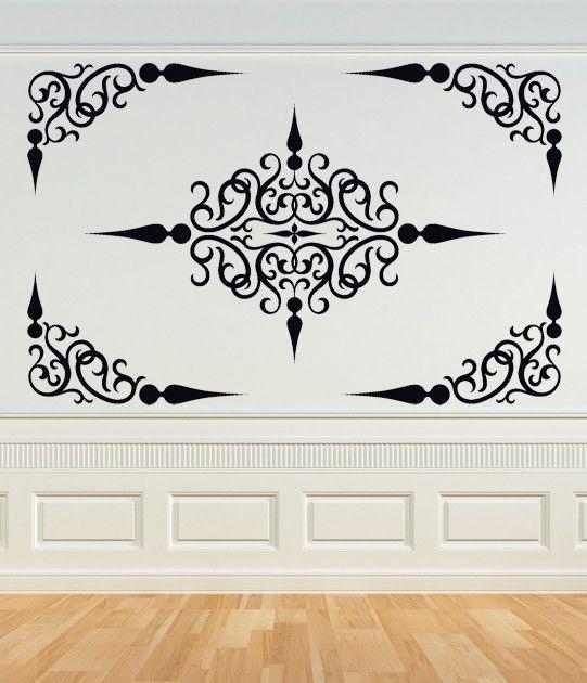 Voluta decorativa Panel, techo medallón remolino etiqueta, etiqueta de la esquina, hierro forjado, etiqueta engomada del vinilo, arte de la pared, casa, oficina, dormitorio decoración