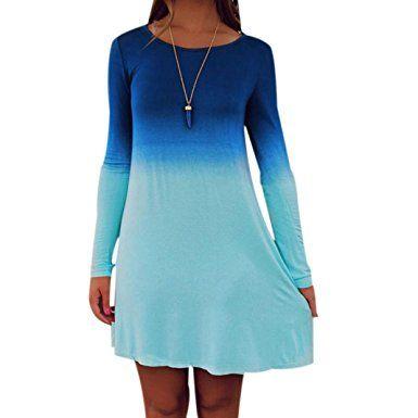 Vestido informal degradado azul, primavera verano
