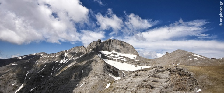 Panoramic view of the high altitude areas of Olympus. You can see the highest summit, Mytikas (2918m.) Stefani, Skolio, Toumba, Pr. Helias etc. That place is the Plateau of Mouses. The mythical mountain! Olympus!