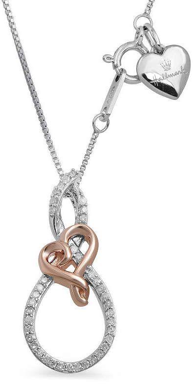 HALLMARK DIAMONDS Womens 1 7 CT. T.W. White Diamond Sterling Silver Gold  Over Silver Pendant Necklace 6bbd1b5da9e4