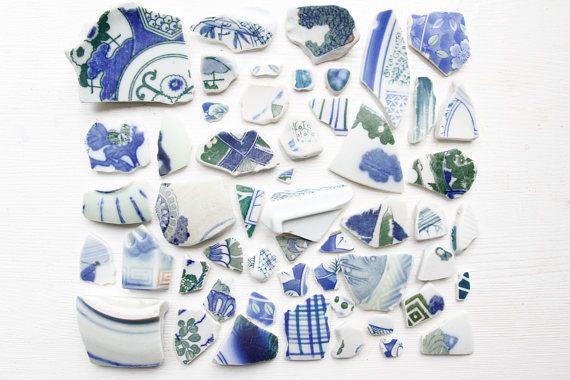 Bulk 50 Pieces of Japanese Blue and Green Sea PotteryBeach