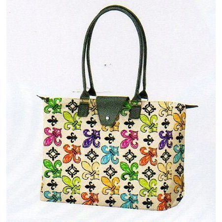 """Long Handle, Fold up Tote - Fleur De Lis Design By Joann Marie Designs by JoAnn Maarie Designs. $19.99. Comfortable 9"""" handles, attached coin purse. Microfiber, zipper closure. 21"""" wide x 13"""" high x 6 1/2"""" deep.. Perfect for travel or shopping. Fold up, compact design. This stylish tote bag is ideal for travel as it folds up to a compact size of approximately 8 1/2"""" x 4 1/2"""" (excluding handle length) x 1"""" making it easy to pack in your suitcase, or simply take w..."""