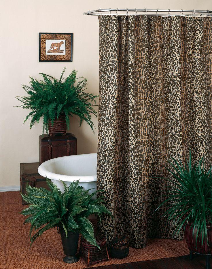 Leopard Shower Curtain With Vinyl Liner Item 160171