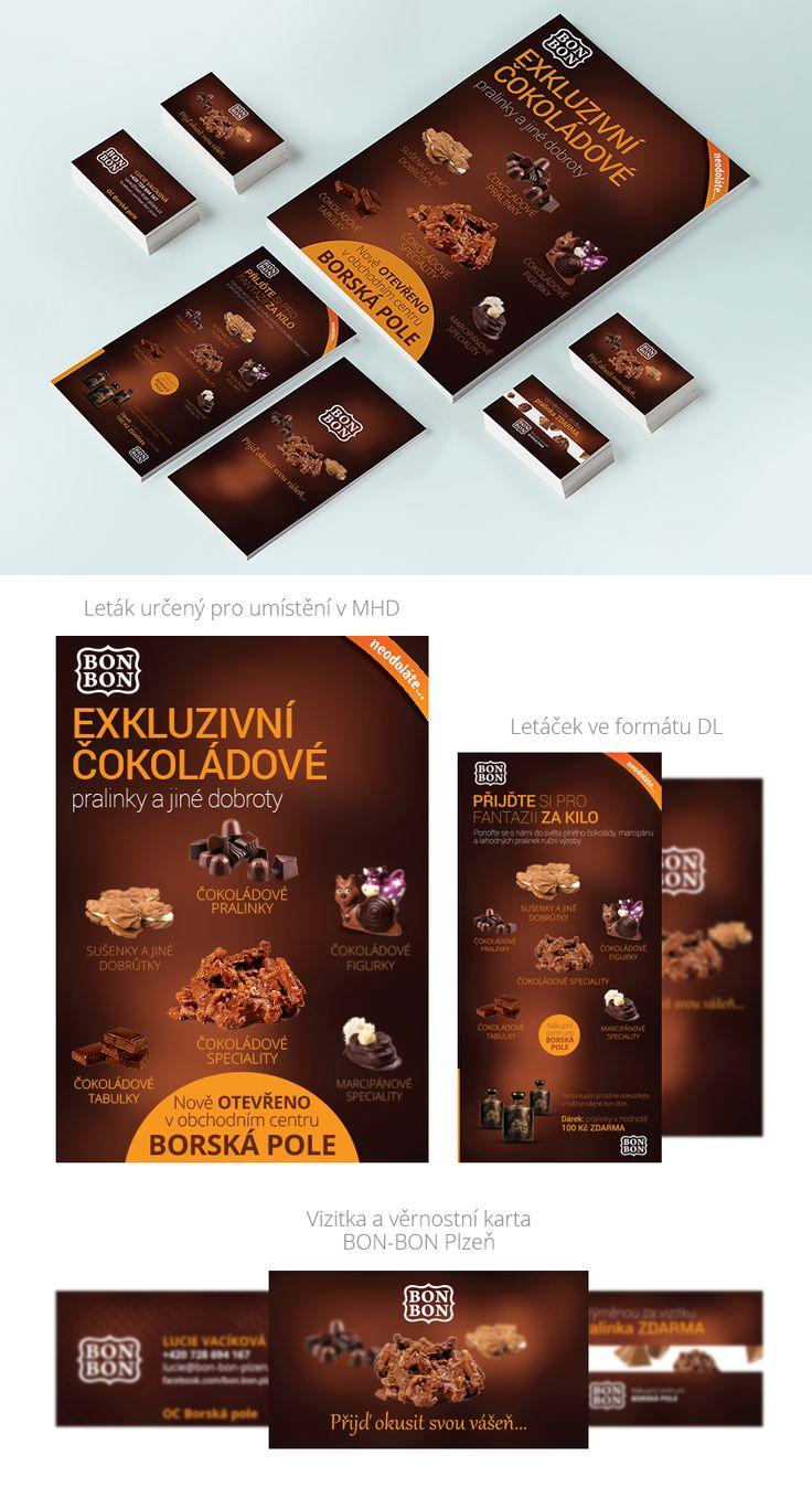 Přijďte podpořit svou vášeň pro čokoládu do prodejny BON-BON Plzeň v OC Borská pole. Cestu najdete, díky letáčkům, vizitkám a dalším tiskovinám od nás. Můžete jet i pomocí MHD, kde se setkáte s kampaní, kterou jsme pomohli připravit. Kromě toho jsme připravili podlahové poutače, 3D písmo a připravujeme i webovou prezentaci s e-shopem.