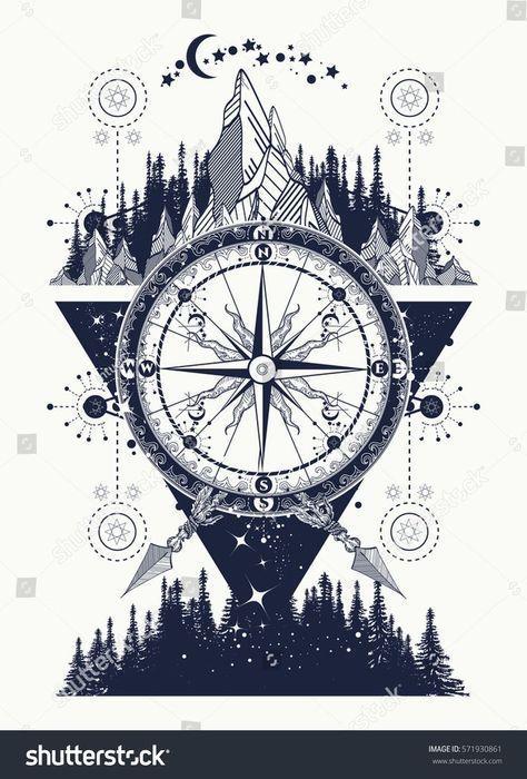 Berge und antike Kompass-Tattoo-Kunst. Abenteuer … – #Adventur #antike #Kunst #Kompass #Wald #Mountains #Tattoo