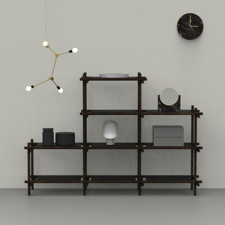 Black Stick System shelving unit
