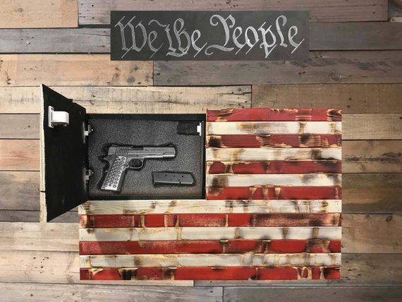 Lockable Rustic Distressed American Flag