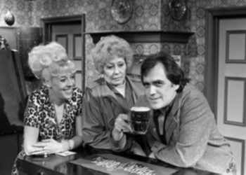 Bet Lynch (Julie Goodyear) with Jack and Vera Duckworth (Bill Tarmey and Liz Dawn) from 'Coronation Street'