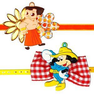 Kids Rakhi - Set of 2: Send all your wishes to your dear brother with Chota Bheem rakhi and Disney Mickey Mouse rakhi. Costs Rs 368/- http://www.tajonline.com/rakhi-gifts/product/rdr66/kids-rakhi-set-of-2/?aff=pinterest2013/