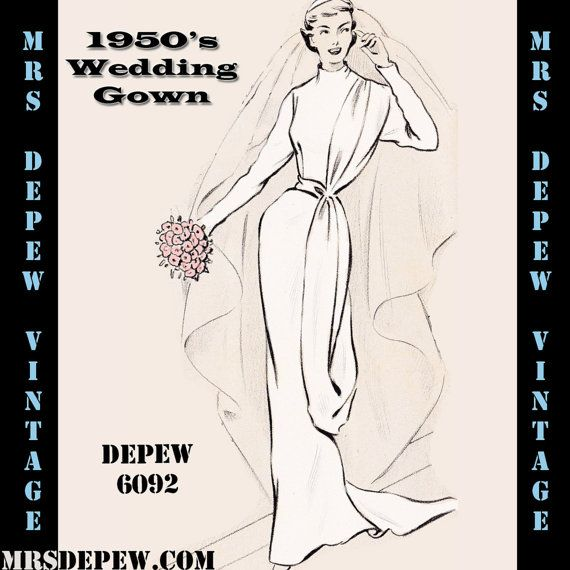 Vintage Sewing Pattern 1950's Sheath Wedding Gown in Any Size - PLUS Size Included - Depew 6092 -INSTANT DOWNLOAD-