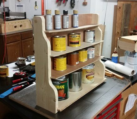 Stain Can Rack - beautiful idea with ugly wood