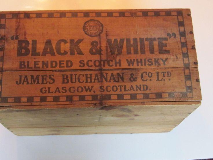 Vintage Black White Scotch Whiskey Wooden Shipping Crate Box NY Stamped | eBay