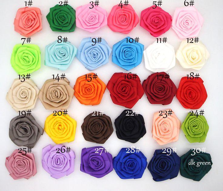 2015 nieuwe aankomst 6 CM satijn Rozen Bloemen Heads Rosette Bloemen Voor Baby Hoofdbanden haaraccessoires 30 stks/partij(China (Mainland))