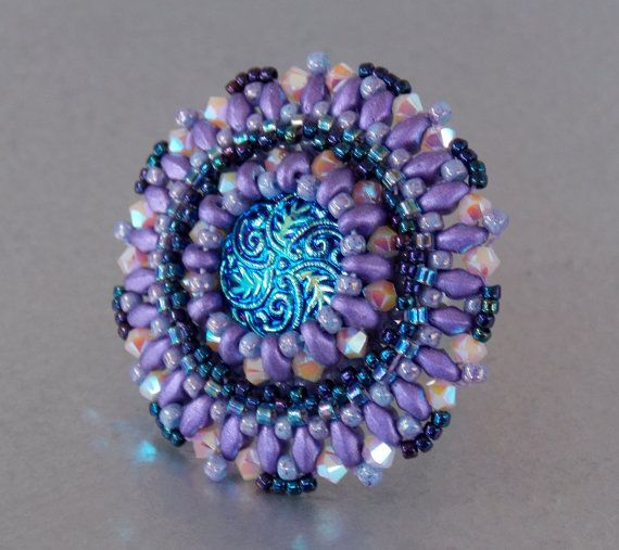 Check out Ring,Bead embroidery , Seed beads jewelry, Fashionable ring, Statement ring, Blue , Purple, Czech glass buttons on vicus