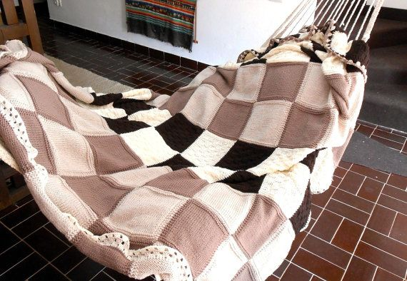 Custom made knitted throw luxury chunky blanket by cosediisa