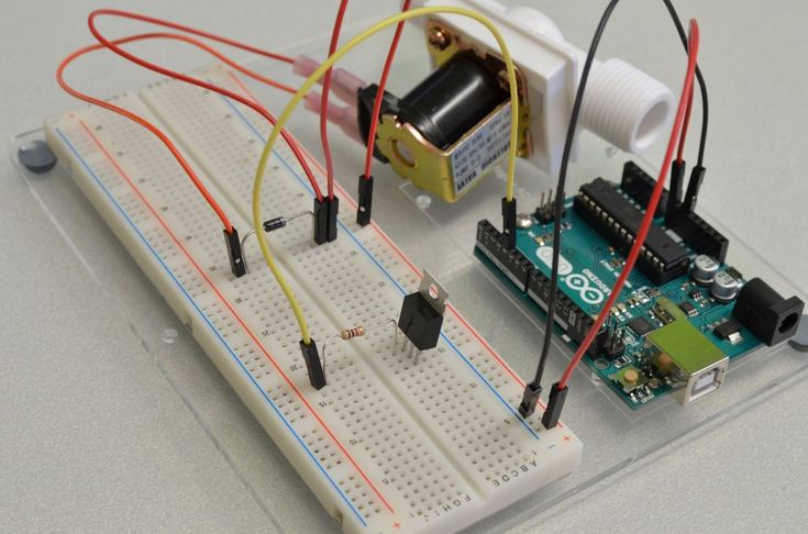 This tutorial will show you how to hook up a solenoid valve to an Arduino using a transistor and write simple code to control it.