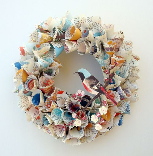 paper wreath #crafts: Old Book, Paper Cones, Paper Wreaths, Crafts Ideas, Paper Art, Paper Birds, Book Pages, Spring Wreaths, Recycled Magazines