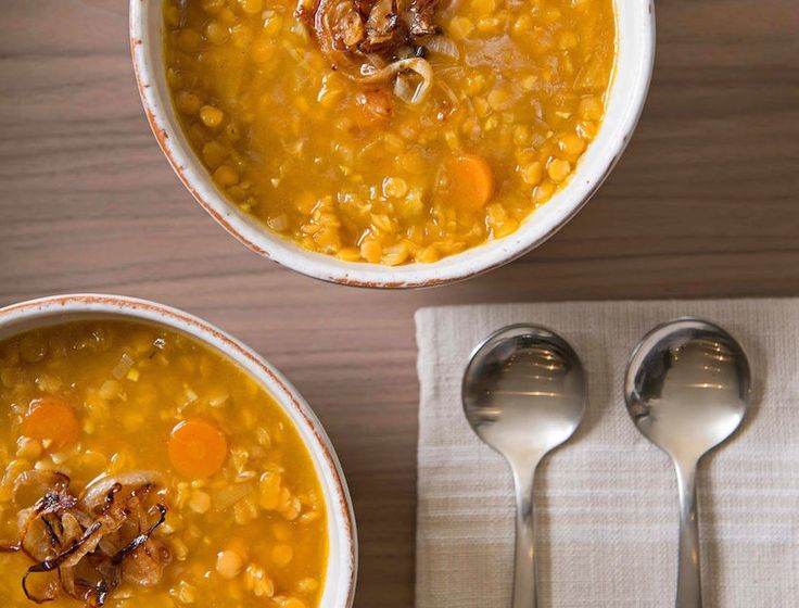 Recipe for: Red Lentil and Caramelized Onion Soup. This delicious soup is perfect for a weeknight dinner. Plus, lentils promote heart health and are rich in iron.