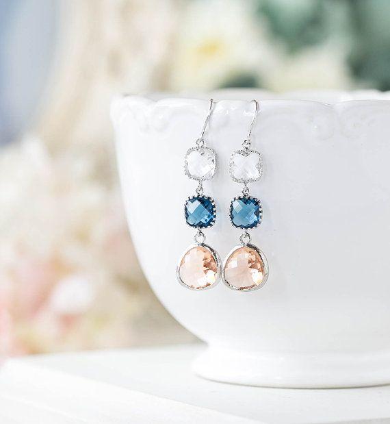 Saphir bleu pêche Champagne clair cristal boucles doreilles