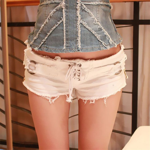 Korean Version Female Fashion Summer Denim Shorts Nightclub Broken Holes Denim Shorts for Women Drawstring Korte Broek Vrouwen