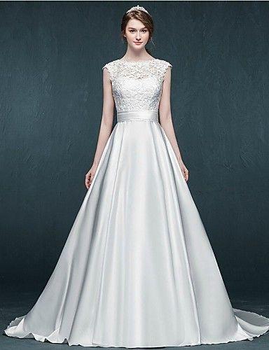 Linha A Vestido de Noiva Cauda Corte Decorado com Bijuteria Cetim com