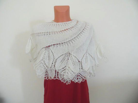 Knitted Bridal Shawl Knit Shawl Scarf by LOVEKNITCROCHET on Etsy
