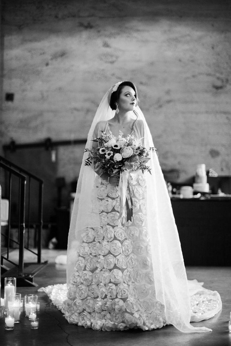 Custom wedding gown & veil, hair, and makeup by Thorne Artistry. Romantic, Wedding, Glam, Modern, Vintage  Photography: Ashley Kelemen - ashleykelemen.com  Read More: http://www.stylemepretty.com/2014/03/13/ginger-spice-sparkler-recipe/