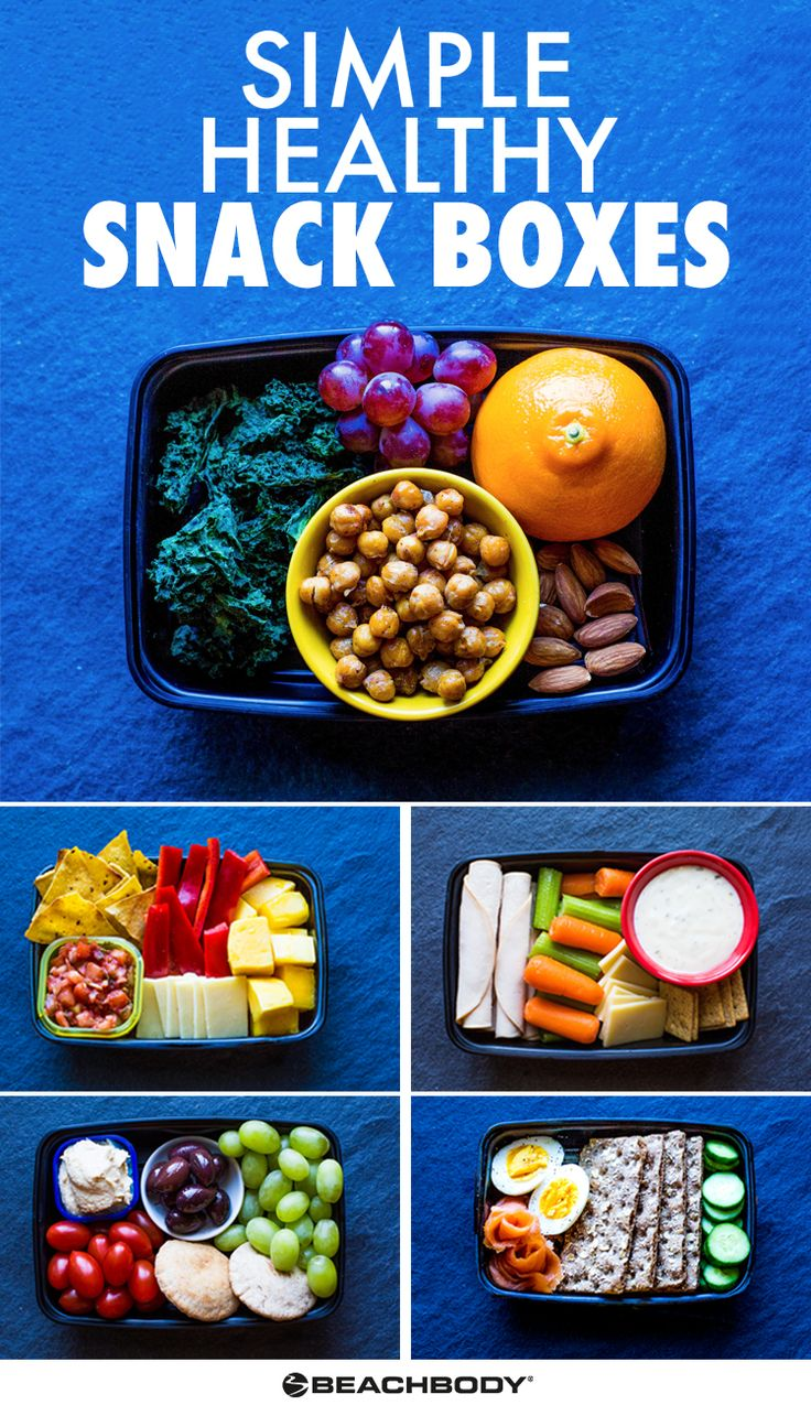 You might not have time to cook all of your lunches and dinners for the week, but you can be prepared with nutritious snacks to get you through the busiest of days. These grab-and-go snack boxes are easy to put together and are hearty enough to pass for a regular meal, or snack on them throughout the day. // snack // busy // schedule // quick // hunger // healthy // easy // kids // wholesome // snacks // fruit // carbs // protein // Beachbody // BeachbodyBlog.com