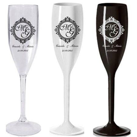 Taça de champanhe personalizada em acrílico (195 ml) - 100 unidades