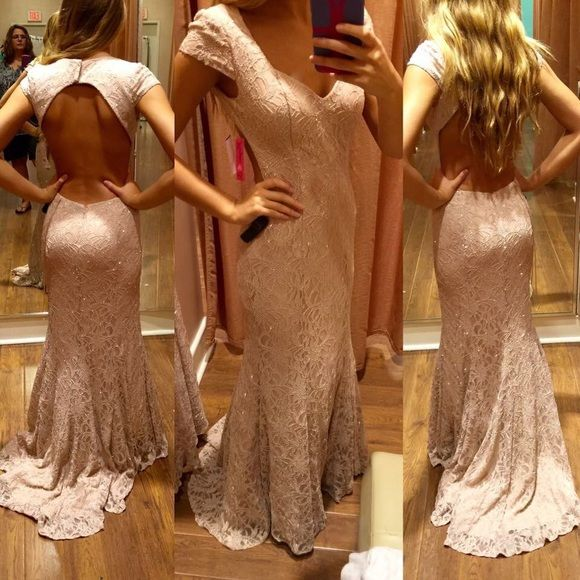 SIZE 2 CHAMPAGNE OPEN BACK PROM DRESS Stunning open back/backless, sparkly, lace, champagne colored prom dress for sale! **ONLY BEEN WORN ONCE** Dresses Prom