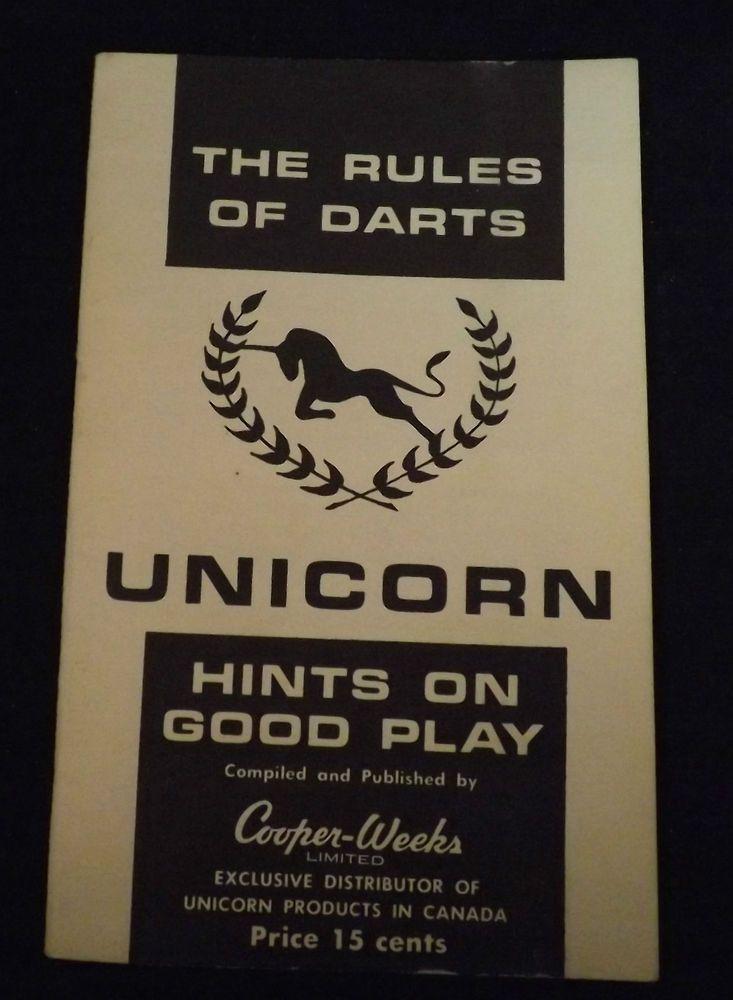 Unicorn Rules of Darts. Rule Book. Includes Rules and Ideas. Circa 1975 | eBay