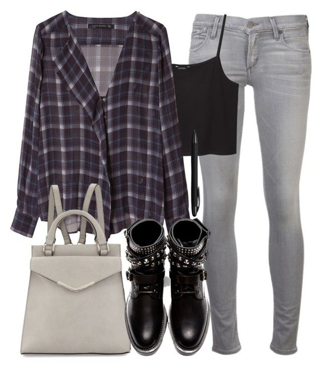 """""""Derek Inspired Finals Outfit with a Purple Plaid Shirt"""" by veterization ❤ liked on Polyvore featuring Citizens of Humanity, Monki, Zara, Neiman Marcus, Yves Saint Laurent and Porsche Design"""