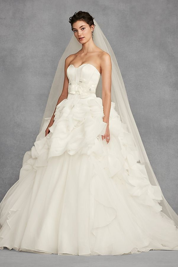 White By Vera Tiered Organza Strapless Ball Gown Wedding Dress David S Bridal