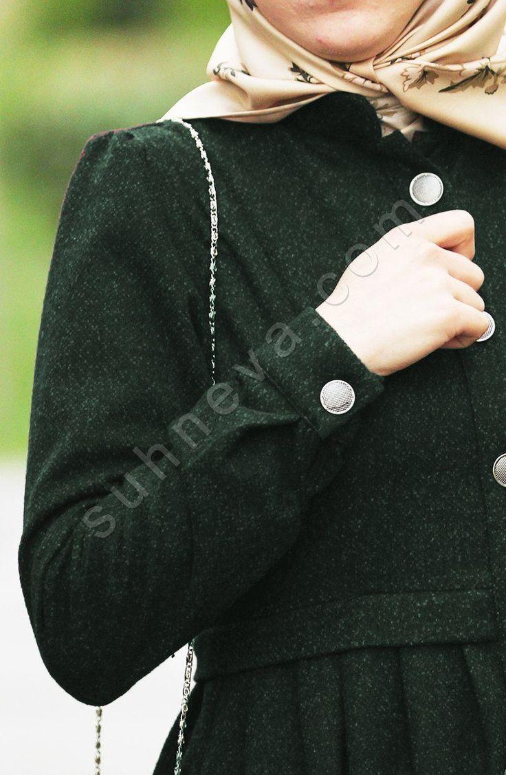 Pileli Pıtırcık Pardesü - Yeşil