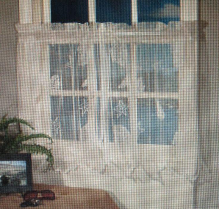 Seashells Starfish Lace Ivory Kitchen Curtain 36l Tier Set