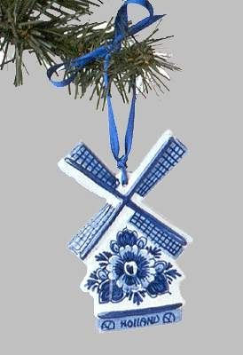 "View a larger picture of Christmas Ornament Delft ""Windmill with Flowers"" Blue"