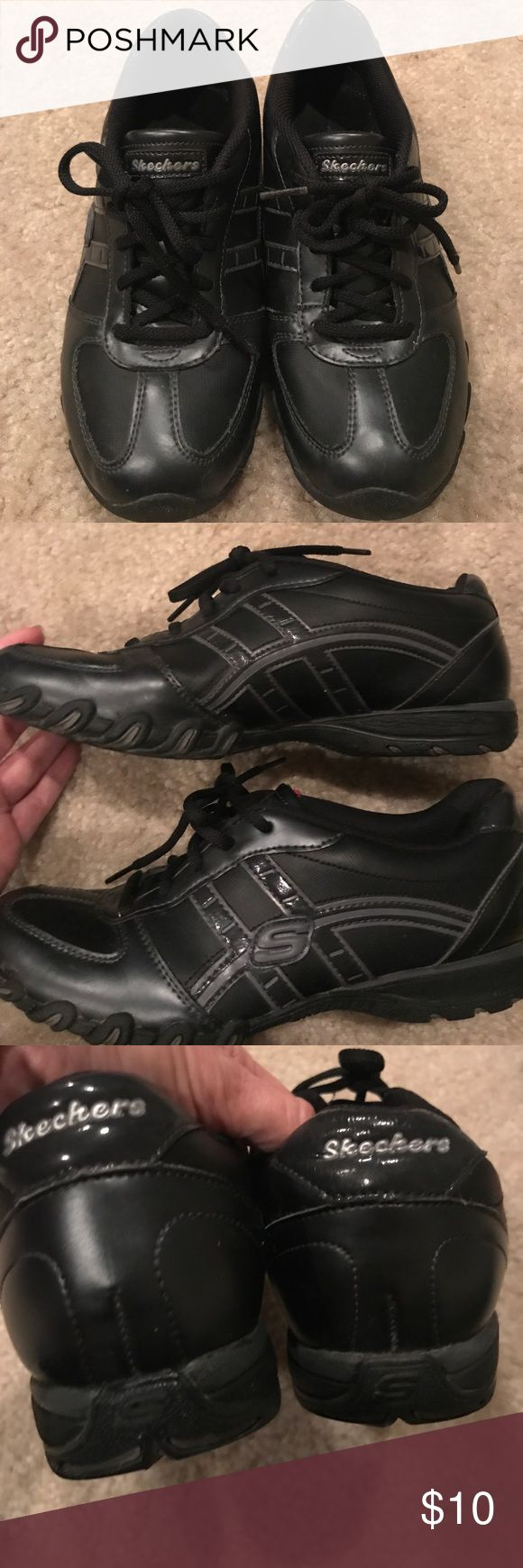 Skechers Black Sneakers Size 8 Black sneakers.  Leather and Synthetic Upper.  No scuffs. EUC. Skechers Size 8 Skechers Shoes Sneakers