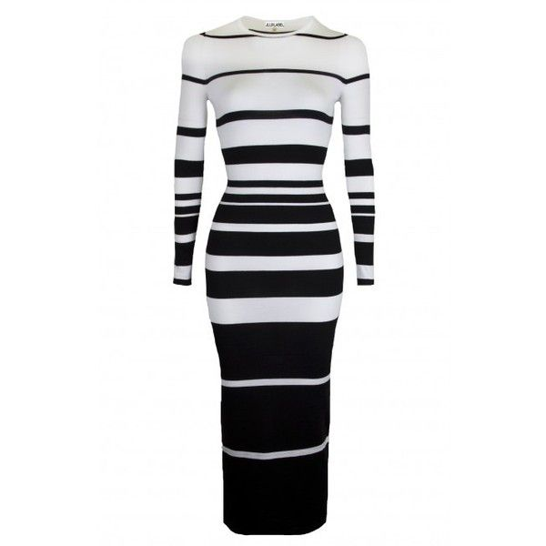 Monochromatic Sheer Sweater Black White Striped Dress ($50) ❤ liked on Polyvore featuring dresses, black and white bodycon dress, striped dress, special occasion dresses, evening dresses and body con dress