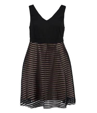 schwarzer kleid mit schwarzen streifen und auch durchsichtig