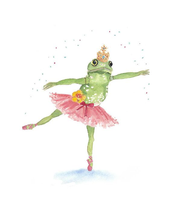 5x7 Frog Watercolor Print  Ballerina Frog Ballet by WaterInMyPaint