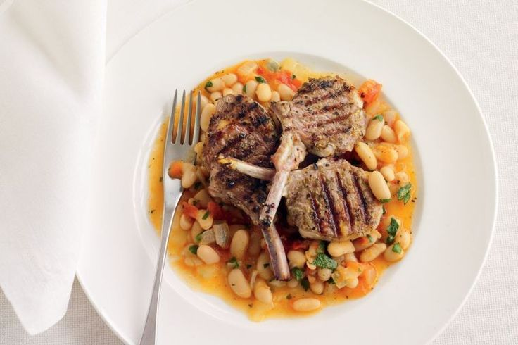 Greek-style lamb cutlets with braised white beans