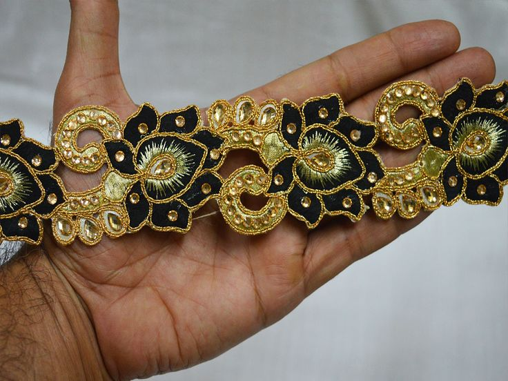 Black Saree Border Ribbon Gold Kundan Lace Glass Bead     You can purchase from below link or What's App no. is +91-9999684477. We also take wholesale inquiries.