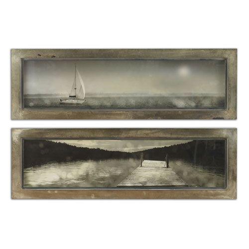 Twilight Sail Oxidized Silver Framed Art, Set Of 2 Uttermost Wall Art Wall Art Home Decor