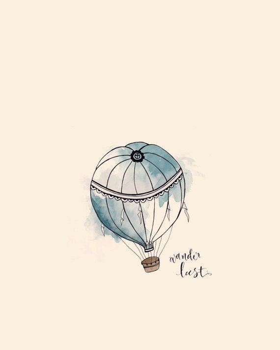 Original Hot Air Balloon Illustration Print. $19.00, via Etsy.